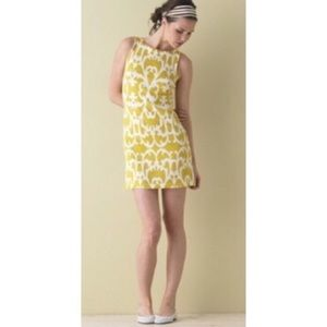 J Crew Collection Yellow Damask Shift Dress Size M